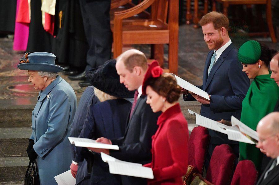 La reine Elizabeth II avec sa famille à l'Abbaye de Westminster à Londres, le 9 mars 2020
