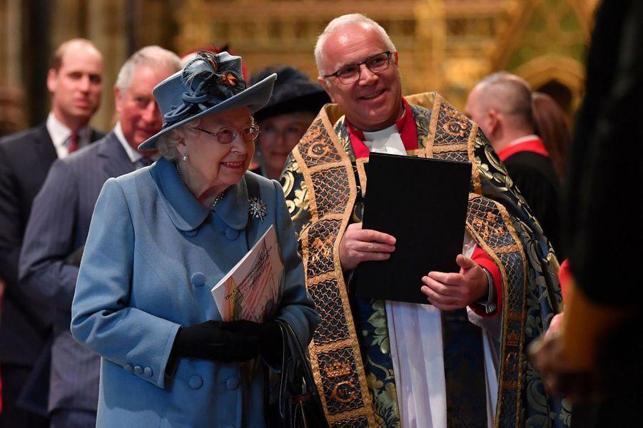 La reine Elizabeth II à Westminster Abbey à Londres, le 9 mars 2020