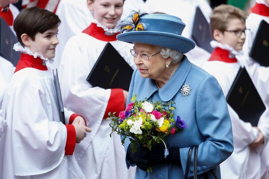 La reine Elizabeth II à l'Abbaye de Westminster à Londres, le 9 mars 2020