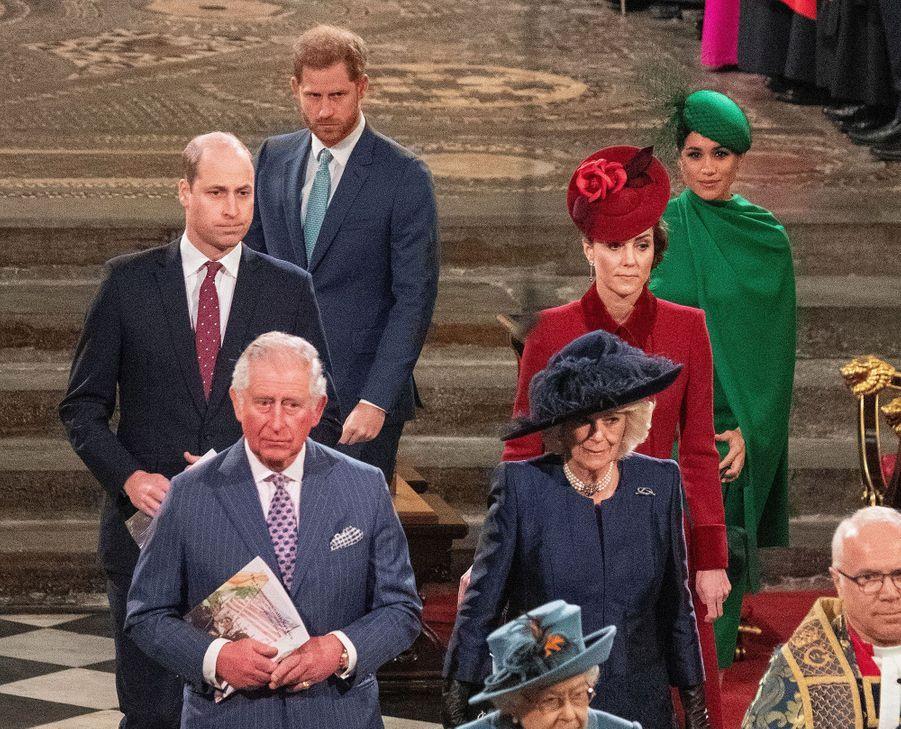 La famille royale à l'Abbaye de Westminster à Londres, le 9 mars 2020