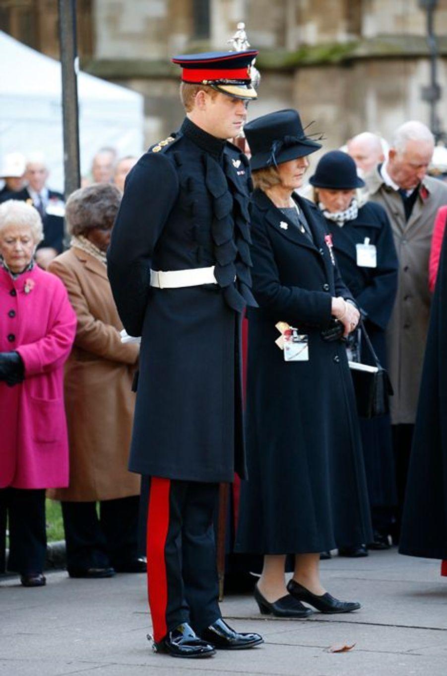 Le prince Harry lors des cérémonies du Souvenir à l'abbaye de Westminster, le 6 novembre 2014
