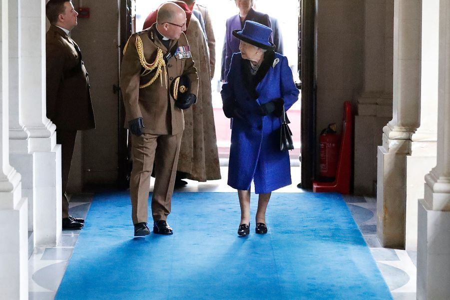 La reine Elizabeth II aux casernes Wellington à Londres, le 22 février 2019