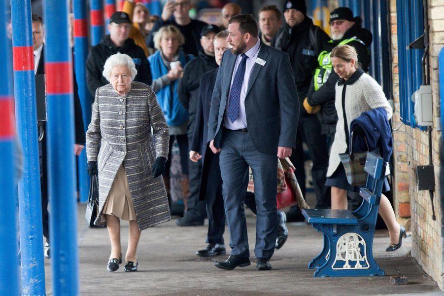 La reine Elizabeth II à son arrivée à la gare de King's Lynn, le 11 février 2019