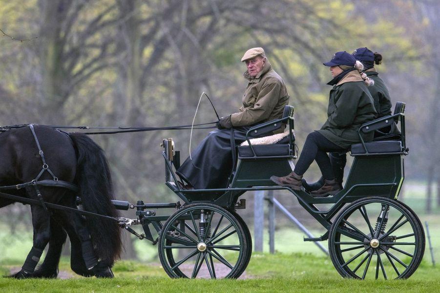 Le prince Philip dans le parc du château de Windsor, le 6 avril 2019
