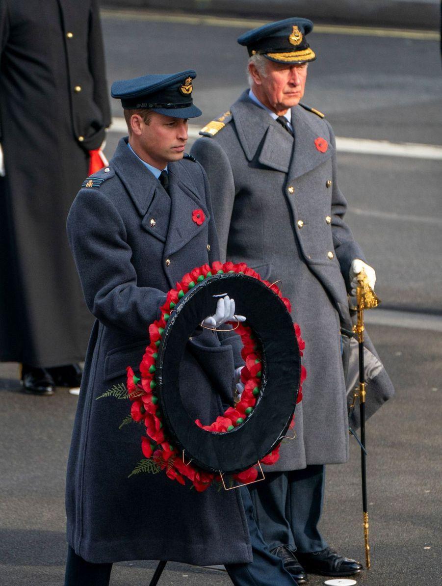 Les princes William et Charles à Londres, le 8 novembre 2020