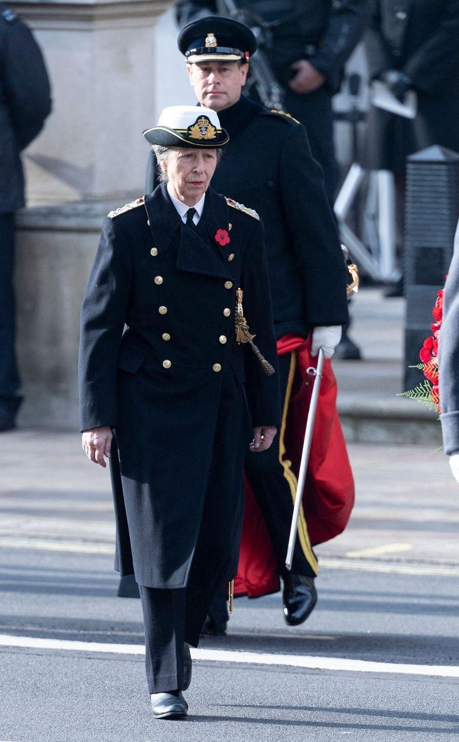 La princesse Anne et le prince Edward à Londres, le 8 novembre 2020