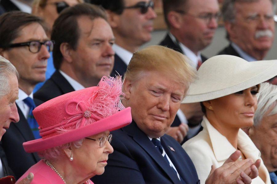 La reine Elizabeth II avec Melania et Donald Trump à Portsmouth, le 5 juin 2019