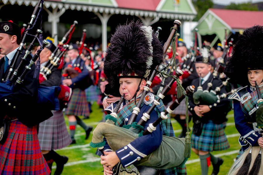 Musiciens écossais au Highlands Braemar Gathering à Braemar, le 1er septembre 2018