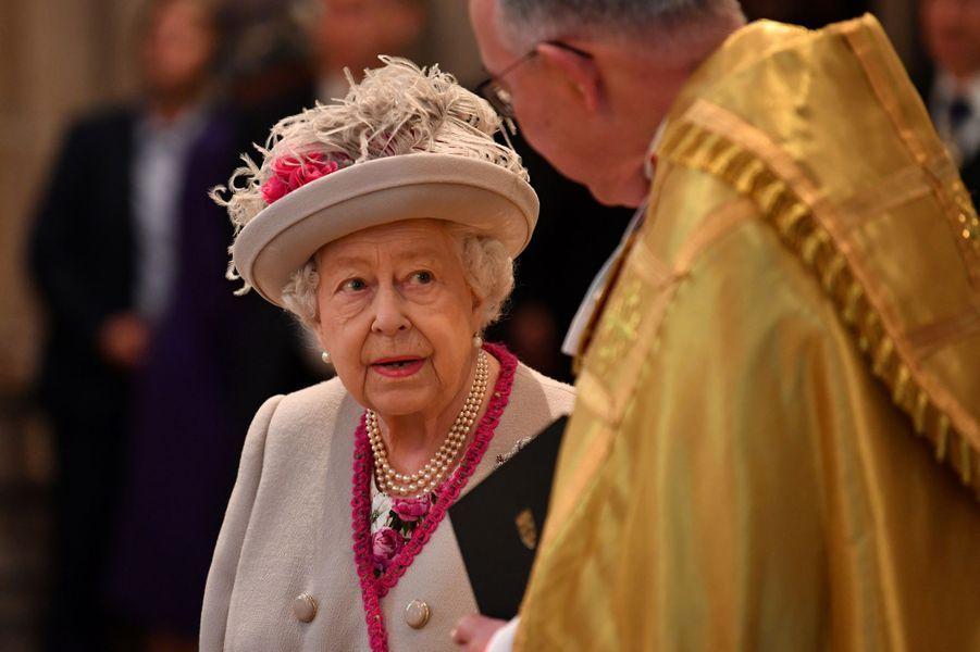 La reine Elizabeth II à l'abbaye de Westminster, le 15 octobre 2019