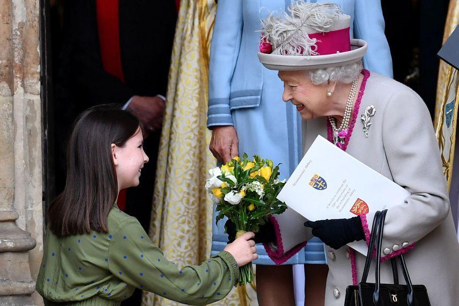 La reine Elizabeth II à l'abbaye de Westminster à Londres, le 15 octobre 2019