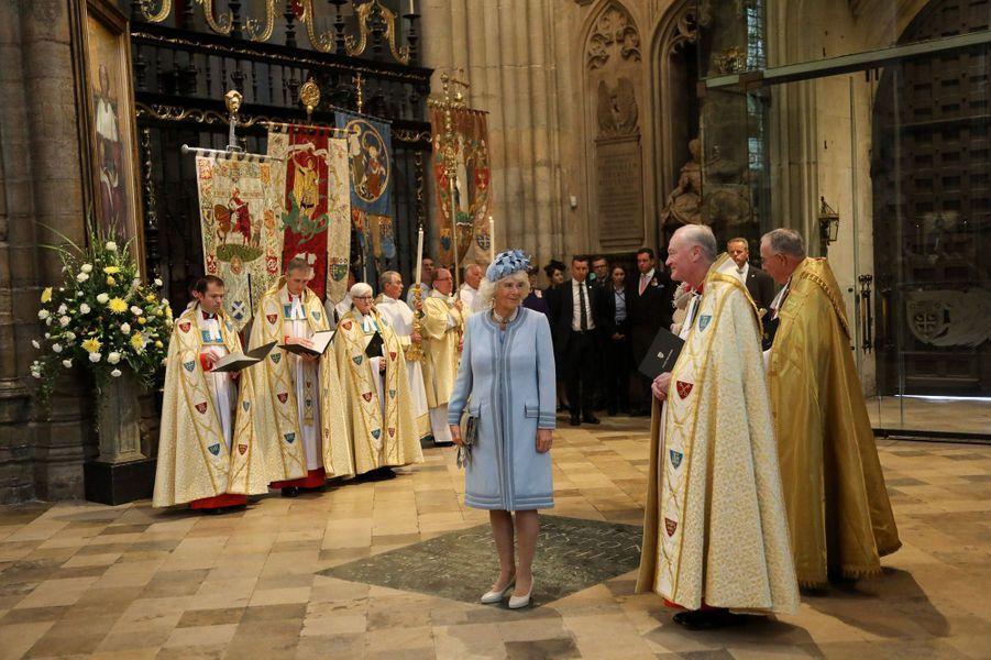 La duchesse de Cornouailles Camilla à l'abbaye de Westminster à Londres, le 15 octobre 2019