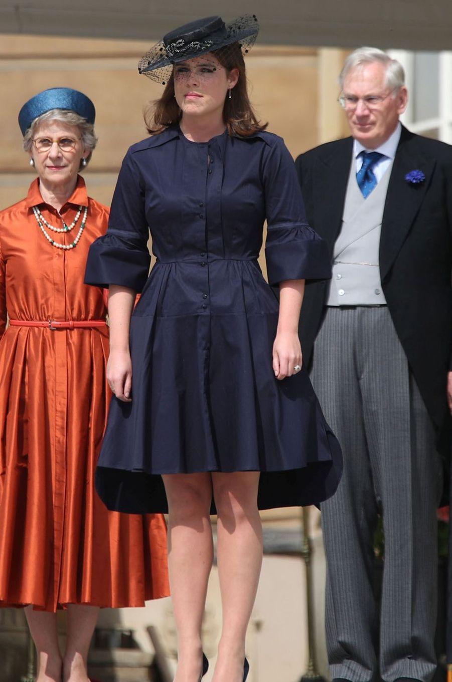 La princesse Eugenie avec le duc de Gloucester, cousin d'Elizabeth II, et sa femme à Londres, le 31 mai 2018