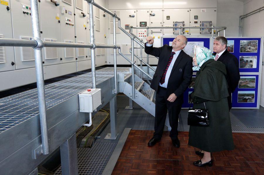 La reine Elizabeth II à la station de pompage de Wolferton sur le domaine de Sandringham, le 5 février 2020