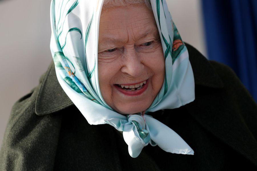 La reine Elizabeth II à la station de pompage de Wolferton, le 5 février 2020