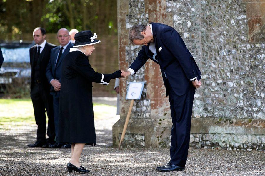 La reine Elizabeth II à Highclere pour les obsèques de Jeanie Herbert, le 25 avril 2019
