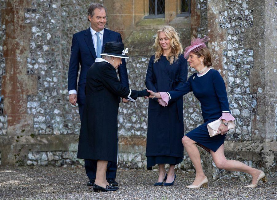 La reine Elizabeth II aux obsèques de Jeanie Herbert, à Highclere le 25 avril 2019