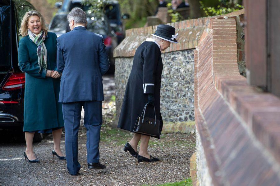 La reine Elizabeth II arrive à Highclere, le 25 avril 2019
