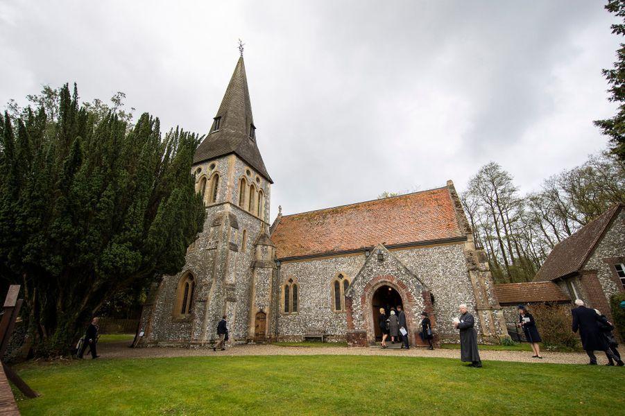 L'église de Highclere où se déroulent les obsèques de Jeanie Herbert, le 25 avril 2019