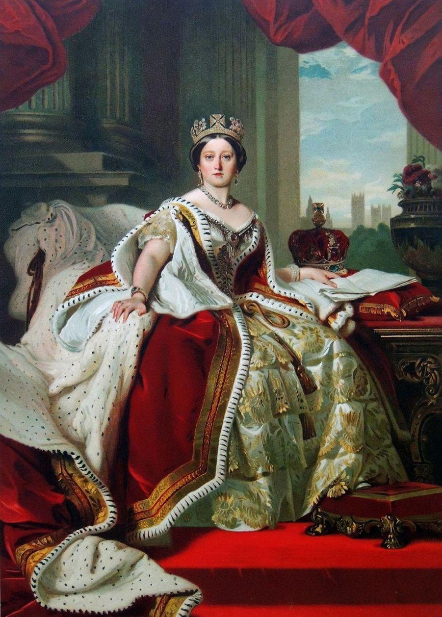 Portrait de la reine Victoria en tenue de couronnement, vers 1870. D'après Franz Xaver Winterhalter