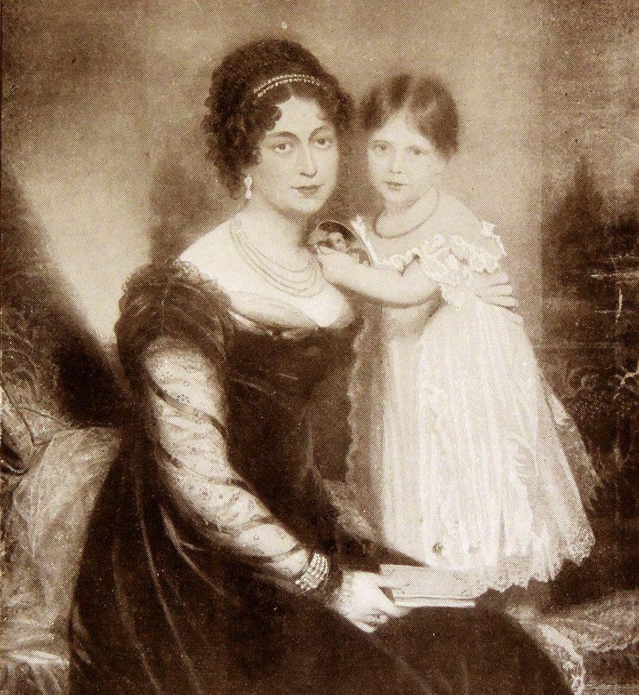Portrait de la princesse Victoria avec sa mère la duchesse de Kent