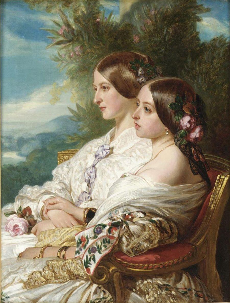 La reine Victoria et sa cousine la duchesse de Nemours en 1852, par Franz Xaver Winterhalter