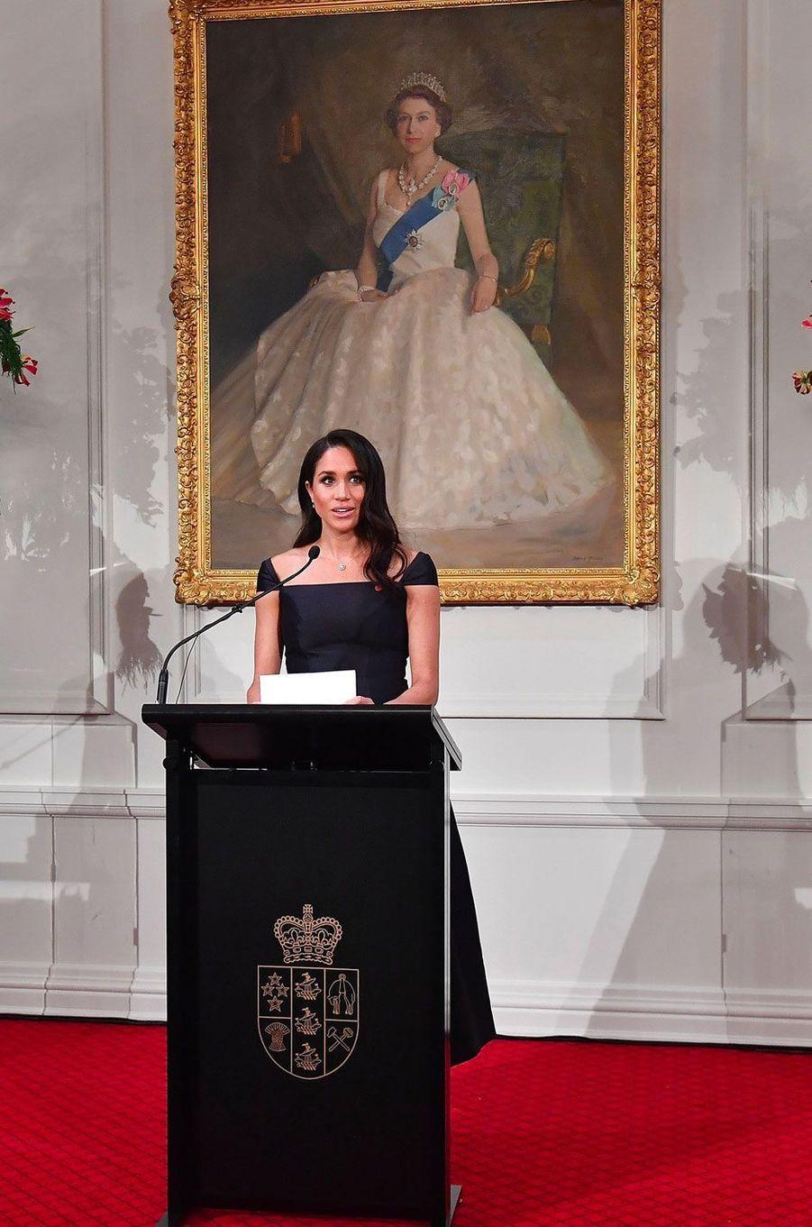 Meghan lors de son discours à Wellington en Nouvelle-Zélande le 28 octobre 2018