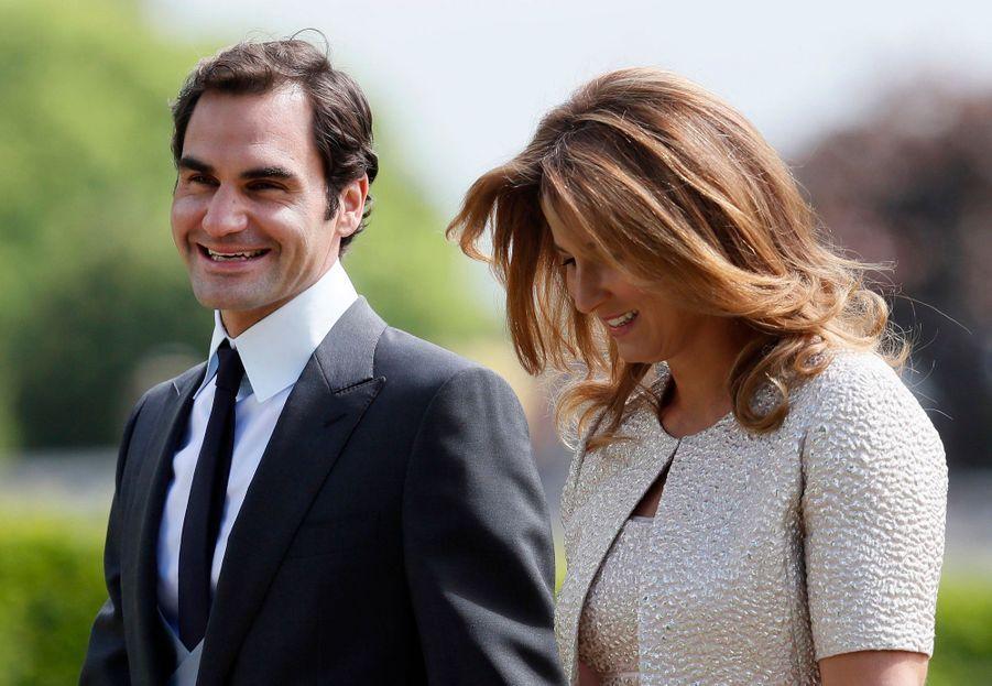 Roger Federer et son épouse Mirka arriventau mariage de Pippa Middleton, samedi 20 mai