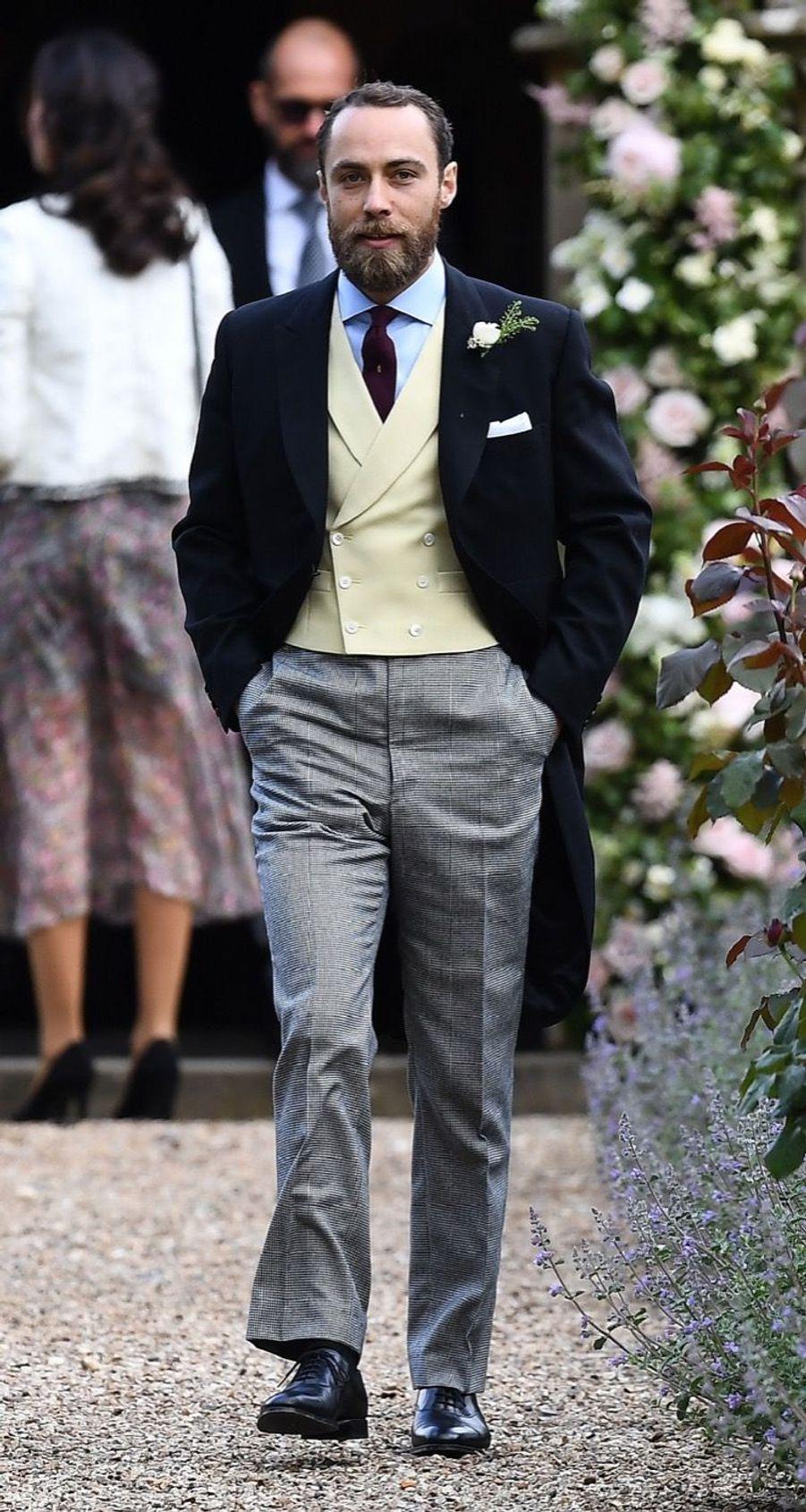 James Middleton, le frère de Kate et Pippa arrive au mariage de Pippa Middleton, samedi 20 mai