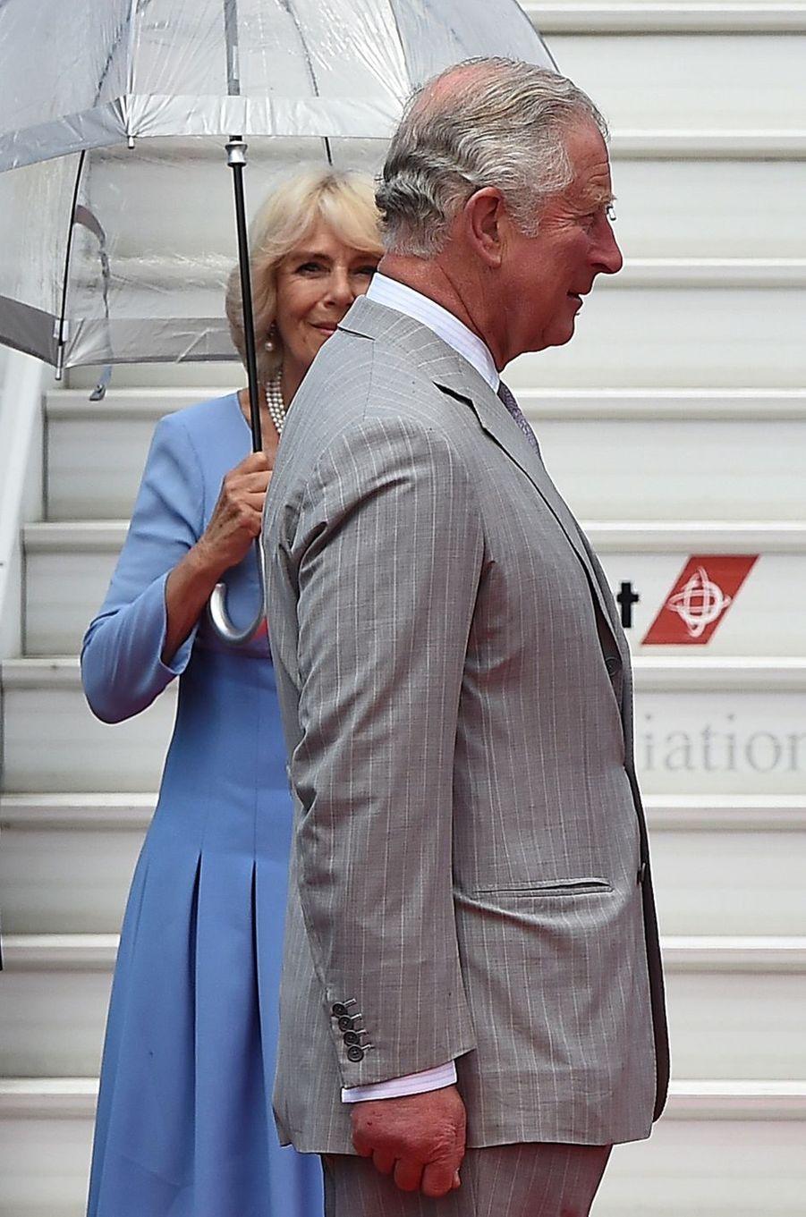 Le prince Charles et la duchesse de Cornouailles Camilla à Nice, le 7 mai 2018