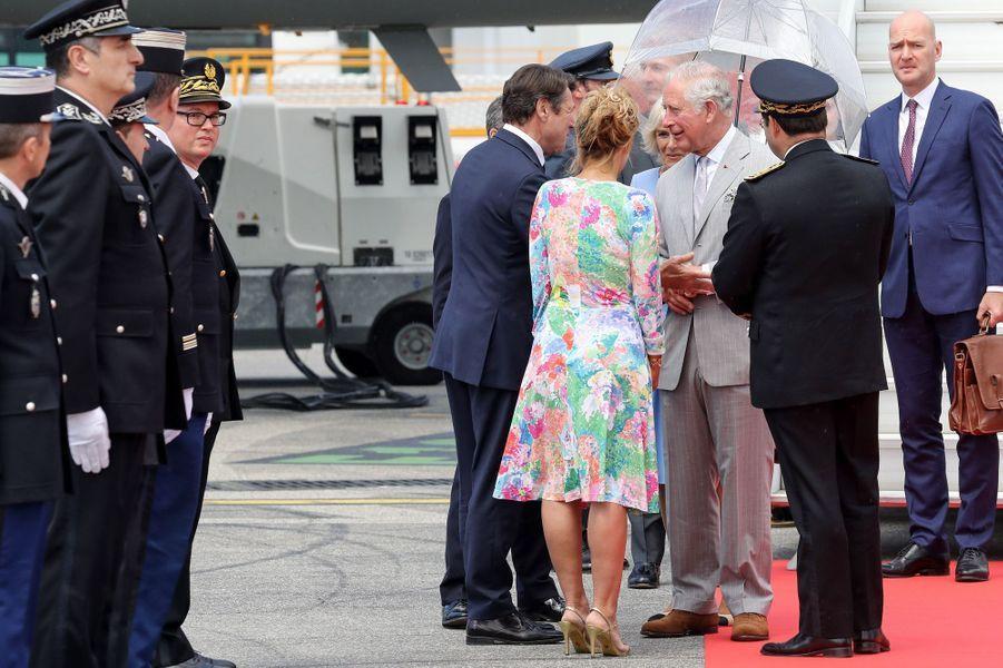 Le prince Charles et la duchesse de Cornouailles Camilla accueillis par Christian Estrosi et sa femme à Nice, le 7 mai 2018