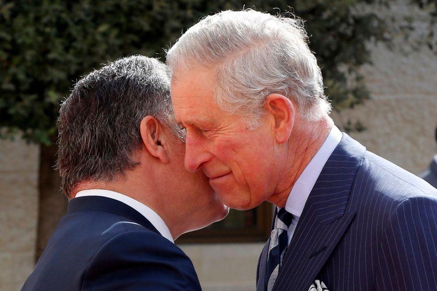 Le prince Charles avec le roi Abdallah II de Jordanie à Aman, le 8 février 2015