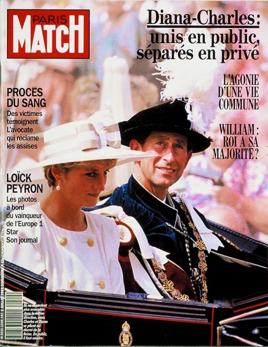 Le prince Charles en couverture du Paris Match n°2249, daté du 2 juillet 1992.