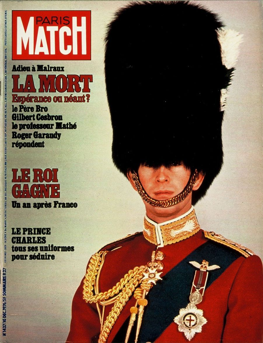 Le prince Charles en couverture du Paris Match n°1437, daté du 10 décembre 1976.