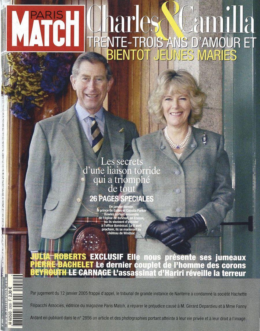 Le prince Charles en couverture du Paris Match n°2909, daté du 17 février 2005.