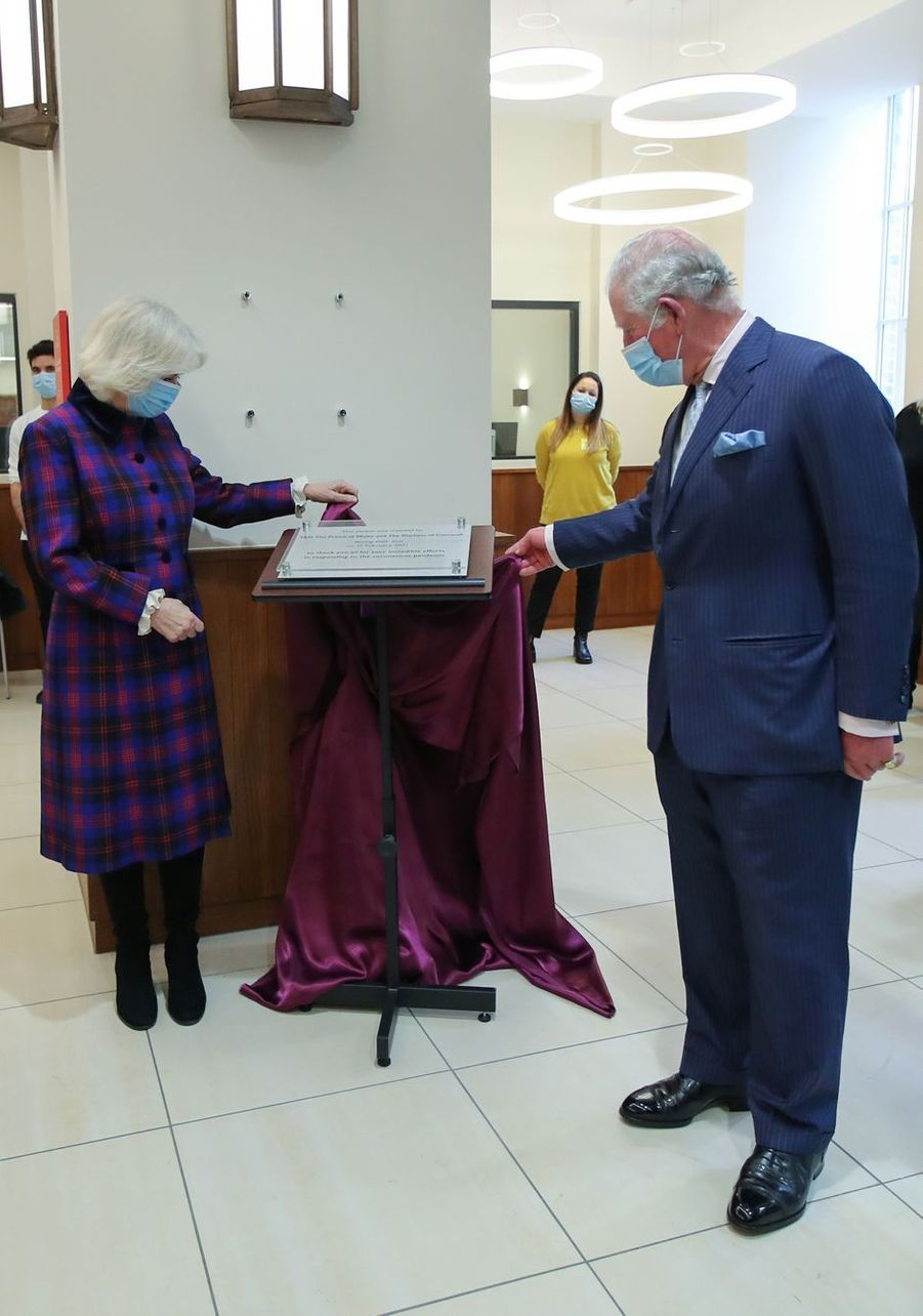 Le prince Charles et la duchesse de Cornouailles Camilla à Birmingham, le 17 février 2021