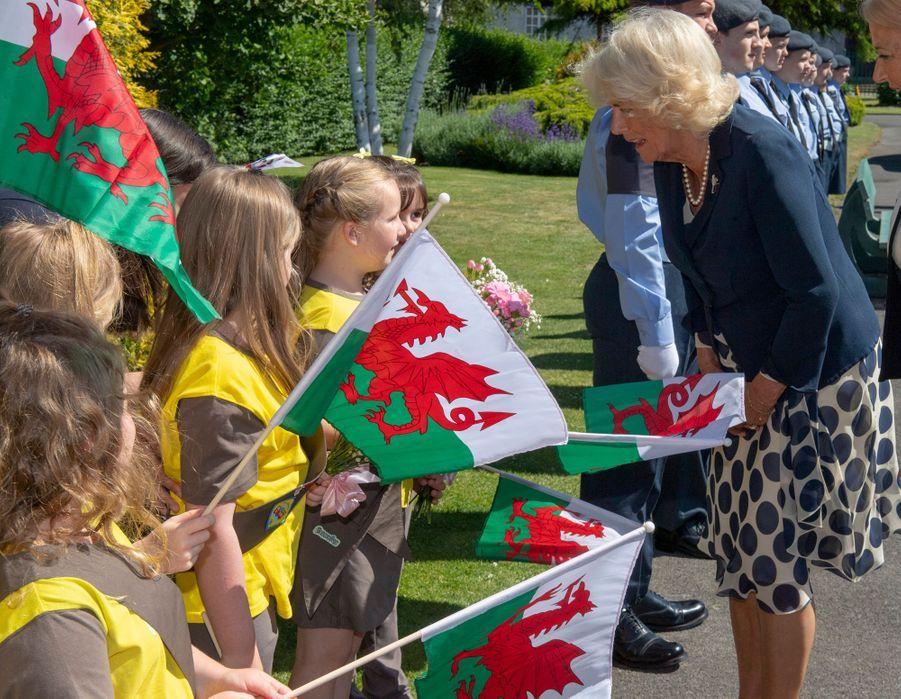 La duchesse de Cornouailles Camilla à Swansea, le 3 juillet 2019