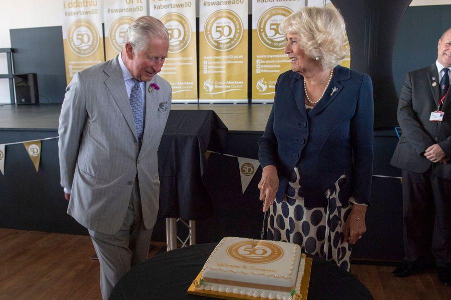 Le prince Charles et la duchesse de Cornouailles Camilla à Swansea, le 3 juillet 2019