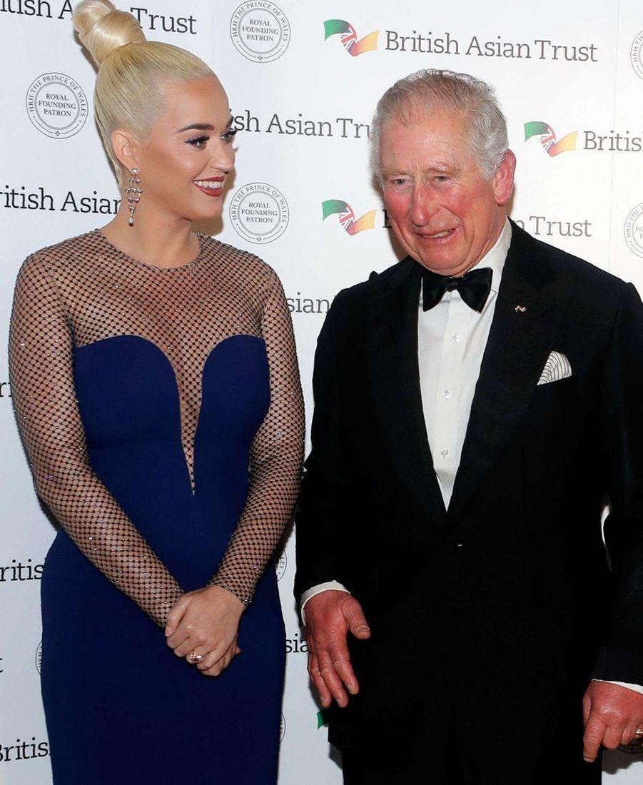 Le prince Charles avec Katy Perry à Londres, le 4 février 2020