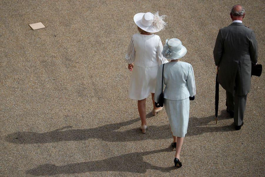 La duchesse de Cornouailles Camilla, la princesse Anne et le prince Charles à Londres, le 15 mai 2019