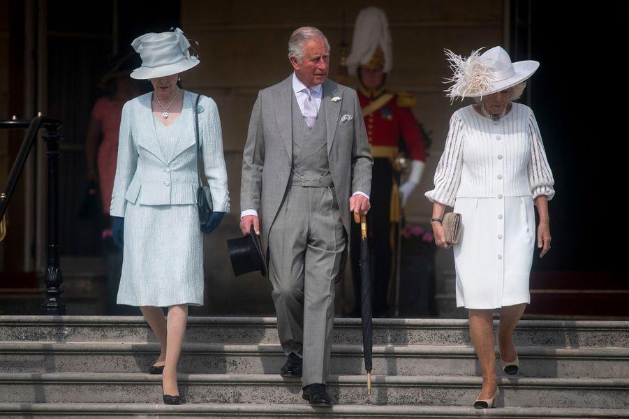 La princesse Anne, le prince Charles et la duchesse de Cornouailles Camilla à Londres, le 15 mai 2019