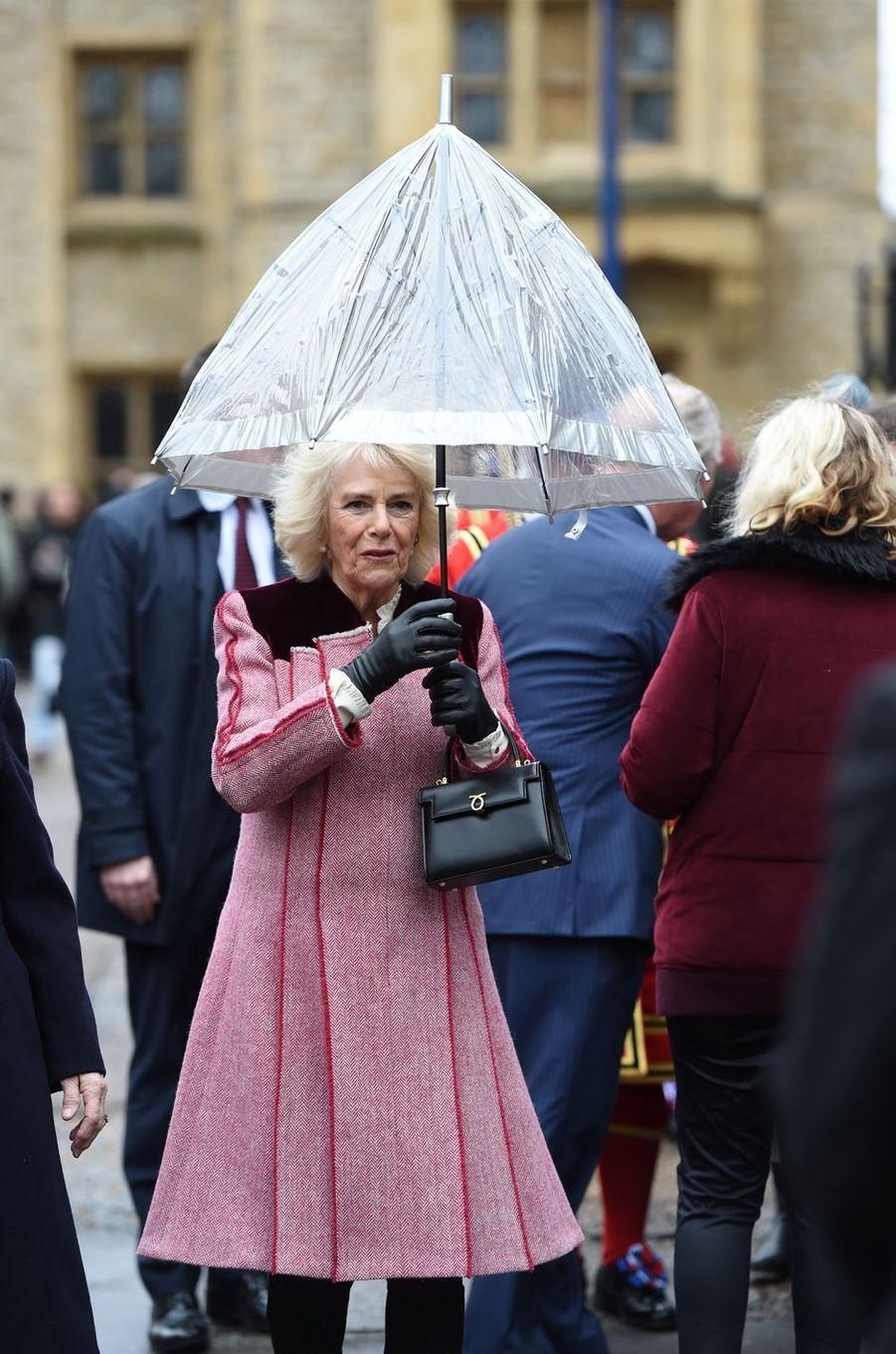 La duchesse de Cornouailles Camilla à Londres, le 13 février 2020