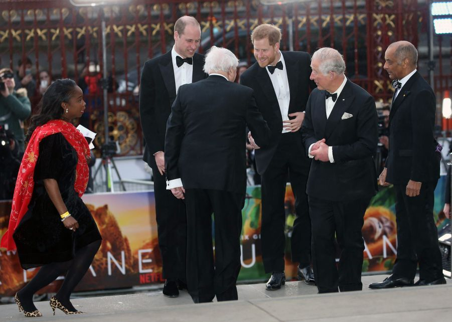 Les princes Charles, William et Harry avec Sir David Attenborough à Londres, le 4 avril 2019