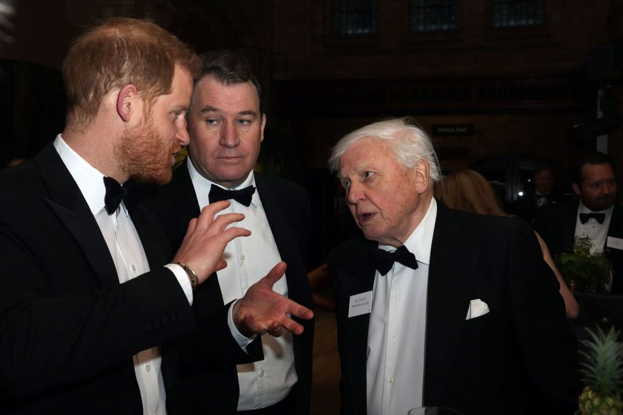 Le prince Harry avec Sir David Attenborough à Londres, le 4 avril 2019