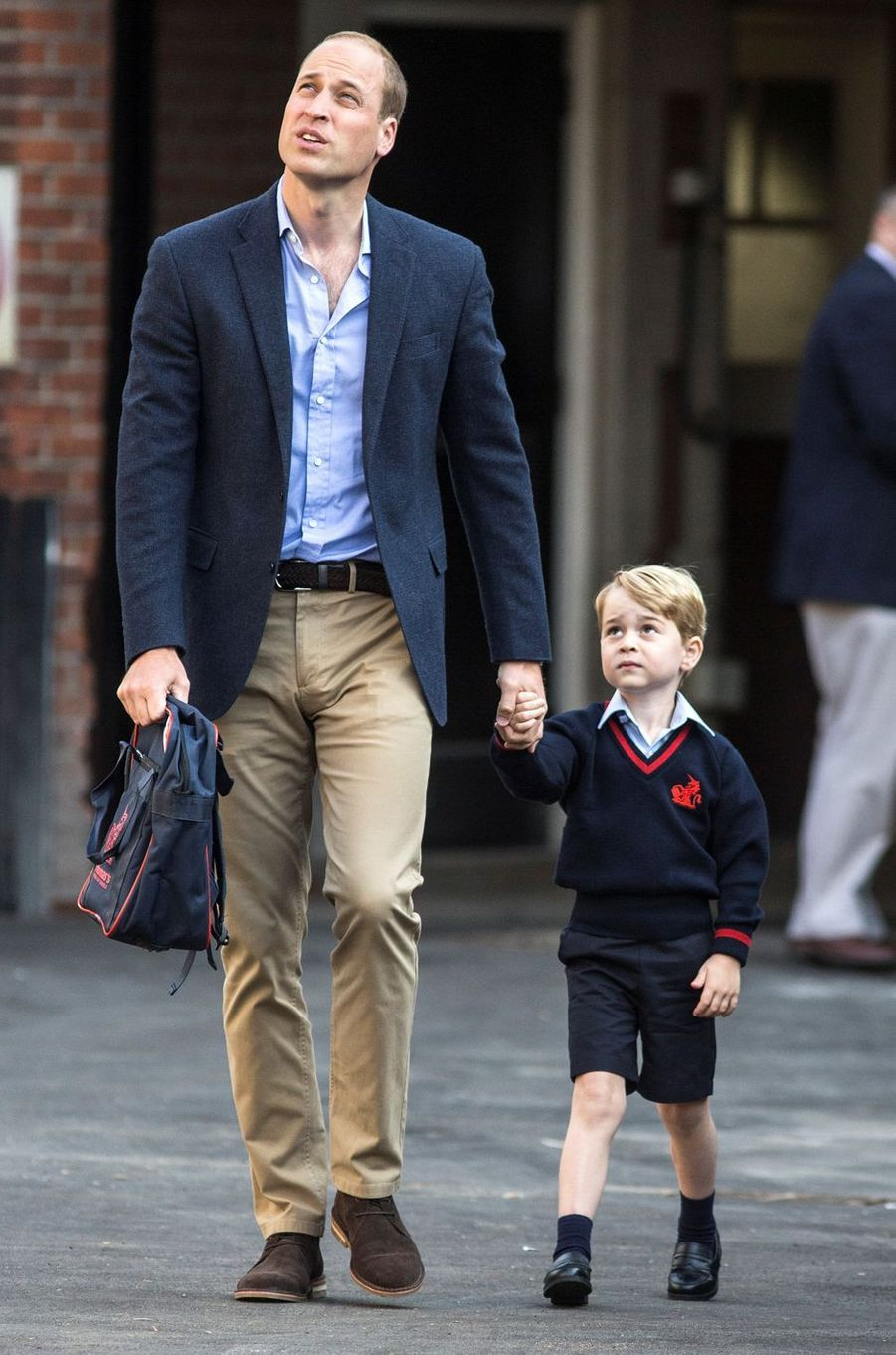 Les princes George et William à la Thomas's Battersea School à Londres, le 7 septembre 2017