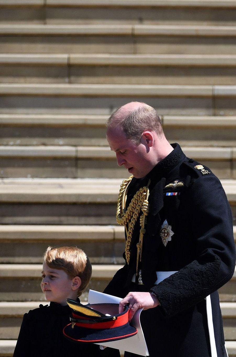 George habillé comme son père et son oncle au mariage de Meghan et Harry, le 19 mai 2018.