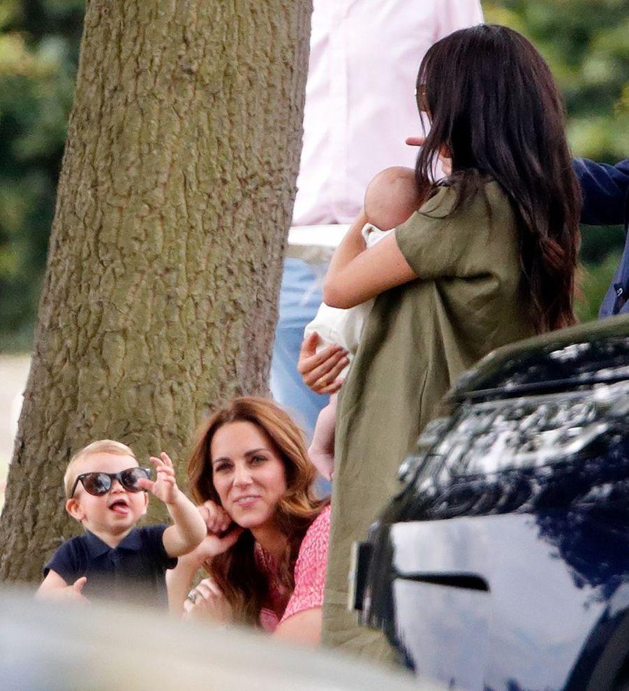 Kate Middleton, le prince Louis, Meghan Markle et son petit Archie à Wokingham, le 10 juillet 2019