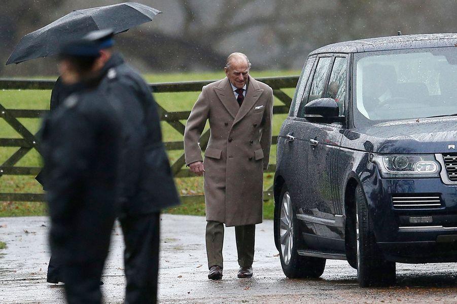Le prince Philip à Sandringham, le 1er janvier 2017
