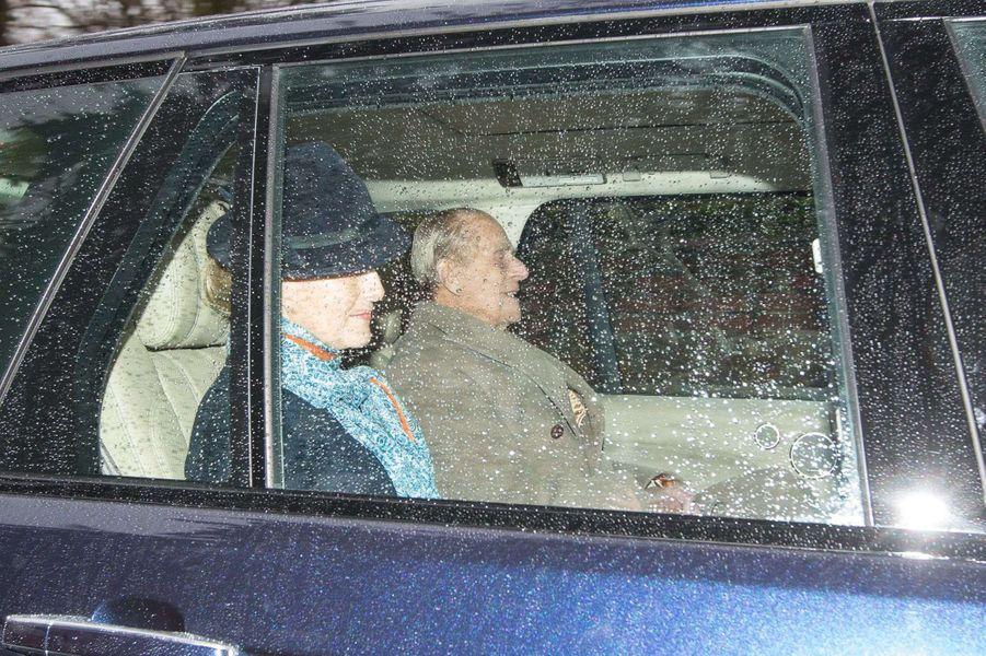 La comtesse Sophie de Wessex et le prince Philip à Sandringham, le 1er janvier 2017