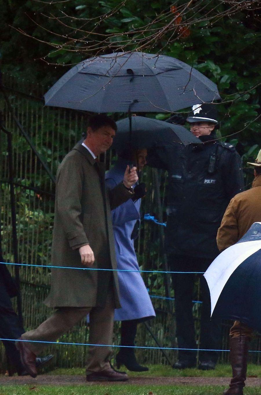 La princesse Anne et son mari Timothy Laurence à Sandringham, le 1er janvier 2017