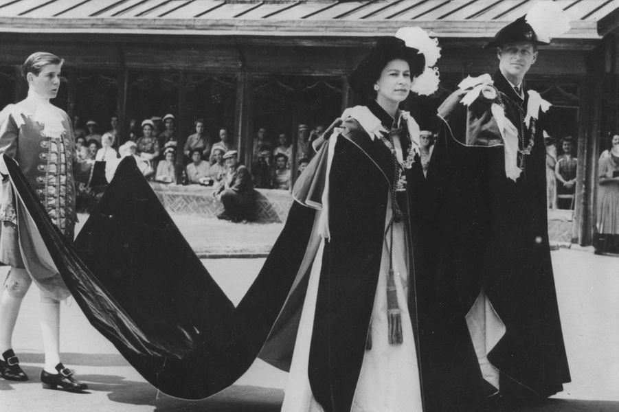 Le prince Philip avec la reine Elizabeth II, le 17 juin 1957